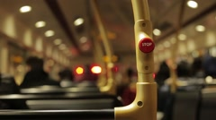 Interior of London Bus Stop Button Stock Footage