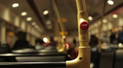 Moving Interior of London Bus Stop Button Stock Footage