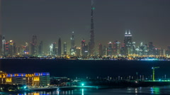 Skyline of Downtown Dubai at night timelapse Stock Footage