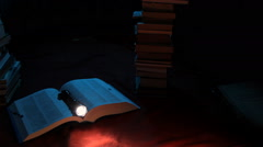Flashlight and a book at night Stock Footage