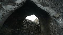 Dimmuborgir lava tunnel entrance Stock Footage