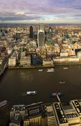 London skyline aerial view in early evening - stock photo