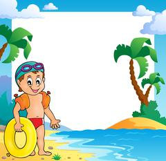 Beach theme frame with small swimmer - eps10 vector illustration. - stock illustration