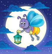 Firefly with lantern theme image - eps10 vector illustration. - stock illustration