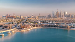 Jumeirah Palm island skyline timelapse in Dubai, UAE Stock Footage