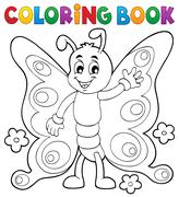 Coloring book cheerful butterfly theme - eps10 vector illustration. - stock illustration