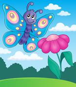 Happy butterfly topic image - eps10 vector illustration. - stock illustration