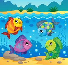 Fish topic image - eps10 vector illustration. - stock illustration