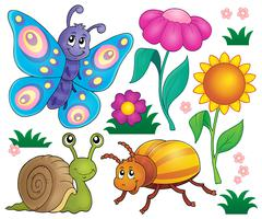 Spring animals and insect theme set - eps10 vector illustration. - stock illustration