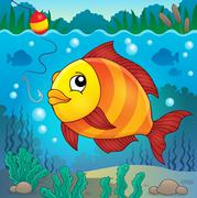 Freshwater fish topic image - eps10 vector illustration. - stock illustration