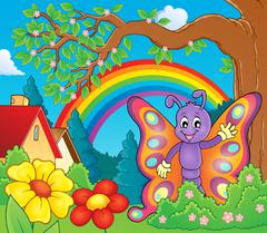 Cheerful butterfly theme image - eps10 vector illustration. - stock illustration