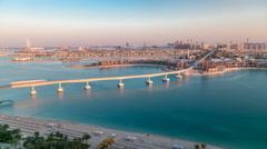 Jumeirah Palm island skyline timelapse in Dubai, UAE Stock Footage