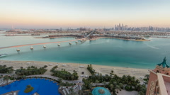 Jumeirah Palm island skyline day to night timelapse in Dubai, UAE Stock Footage