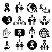 Awareness ribbons with people - black vector icons set Stock Illustration