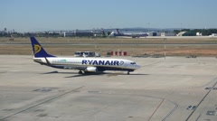 Ryanair aircraft moving to the runway at the Valencia, Spain Airport Stock Footage