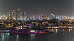 Jumeirah Palm island skyline night timelapse in Dubai, UAE Stock Footage