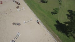 Horse Jumping Aerial 4K dlog Stock Footage