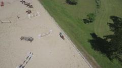 Horse Jumping Aerial 4K dlog Stock Footage