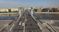 Unique flyover the complex road junction. Modern Russia Moscow aerial Stock Footage