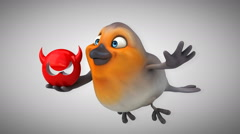 Computer animation - Fun red robin Stock Footage