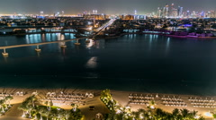 Jumeirah Palm island skyline night timelapse in Dubai, UAE Stock Footage