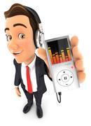 3d businessman listening music on mp3 player Stock Illustration