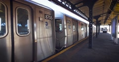 NYC subway leaving the platform Stock Footage