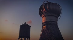 Slow motion of NYC rooftop with rotating vent and watertower Stock Footage