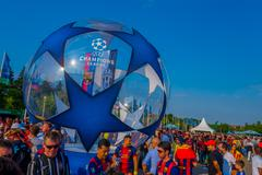 BERLIN, GERMANY - JUNE 06, 2015: Thousands of fans attend to the olimpic stadium Stock Photos