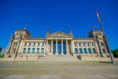 BERLIN, GERMANY - JUNE 06, 2015: Dem Deutschen Volke, is the inscription outside - stock photo