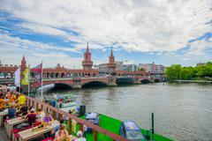 BERLIN, GERMANY - JUNE 06, 2015: Spree river cross under oberbaumbrucke, square Stock Photos