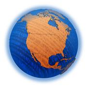 North America on wooden Earth - stock illustration
