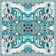 Authentic silk neck scarf or kerchief square pattern design in u Stock Illustration