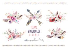 Watercolor colorful ethnic set of arrows  and flowers in native - stock illustration