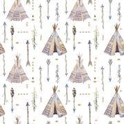 Watercolor boho seamless pattern with teepee, arrows, feathers - stock illustration