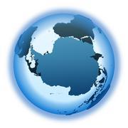 Antarctica on translucent Earth - stock illustration