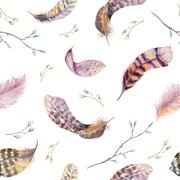 Feathers repeating pattern. Watercolor background with seamless - stock illustration