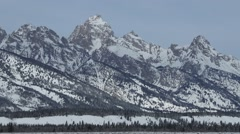 Snowy Mountains in Wyoming Stock Footage