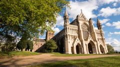 The Cathedral and Abbey Church of Saint Alban, St. Albans, England; time lapse Stock Footage