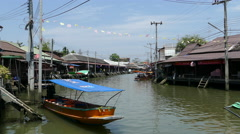 Canel of the Tha Kha Floating Market Stock Footage