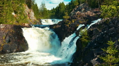 Kivach Waterfall in Karelia, Northern Russia Stock Footage