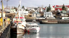 ICELAND, Hafnarfjordur, boats by the pier. Stock Footage