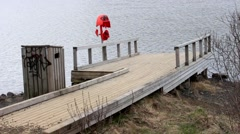 ICELAND, Hafnarfjordur, A little pier by the waterside. Hvaleyrarvatn. Stock Footage