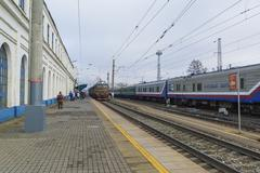Vladimir, Russia - November 11.2016. The train arrives at  station Stock Photos