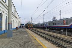 Vladimir, Russia - November 11.2016. The train arrives at  station - stock photo