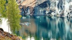 Marble Canyon Ruskeala in Karelia, Russia Stock Footage