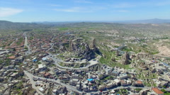 Aerial view of Uchisar castle - stock footage