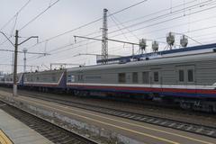Vladimir, Russia - November 11.2016. Postal wagon at  train station - stock photo