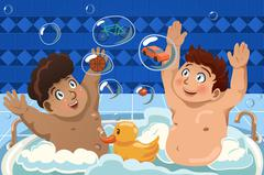 Kids Having a Bubble Bath - stock illustration