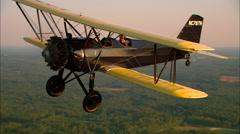 Stearman 6L Cloudboy Air to Air Turn Stock Footage
